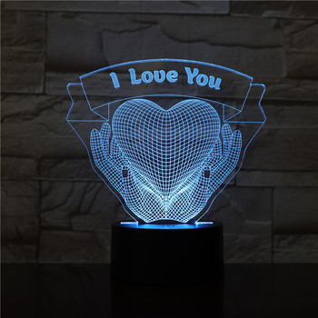 3D LED Lamp I Love You Heart Hands bedside 7 Color Changing Lampara RGB Boy Child Kids Birthday Gifts USB 3D LED Night Light wedding decor i love you heart 3d optical illusion mood light 7 colors change luminaria lava lamp kids night light novelty gifts