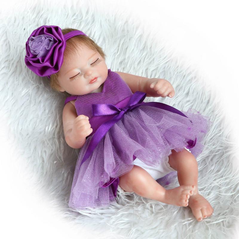Silicone Reborn Dolls 27CM מיני Lifelike Bebe Reborn תינוקות עם שמלת נסיכה Bebe להתכונן משחק צעצוע לילדים Boneca Reborn