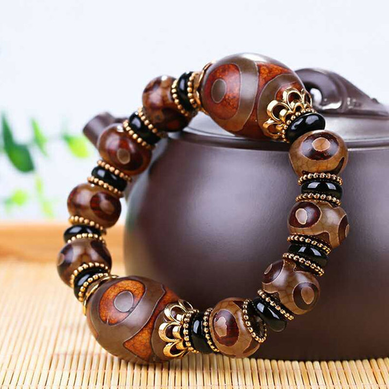 Old Tibetan Dzi Beads Bracelet Drop Shipping Ethnic Style Great Quality Three Eyes Dzi Beads Natural Stone Jade Jewelry