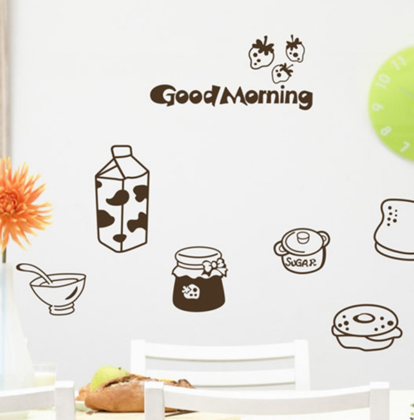 Cartoon Cute Milk Bread Kitchen Fridge Decorative Wall Stickers Good Morning VINYL Removable Home Art Decal Decoration