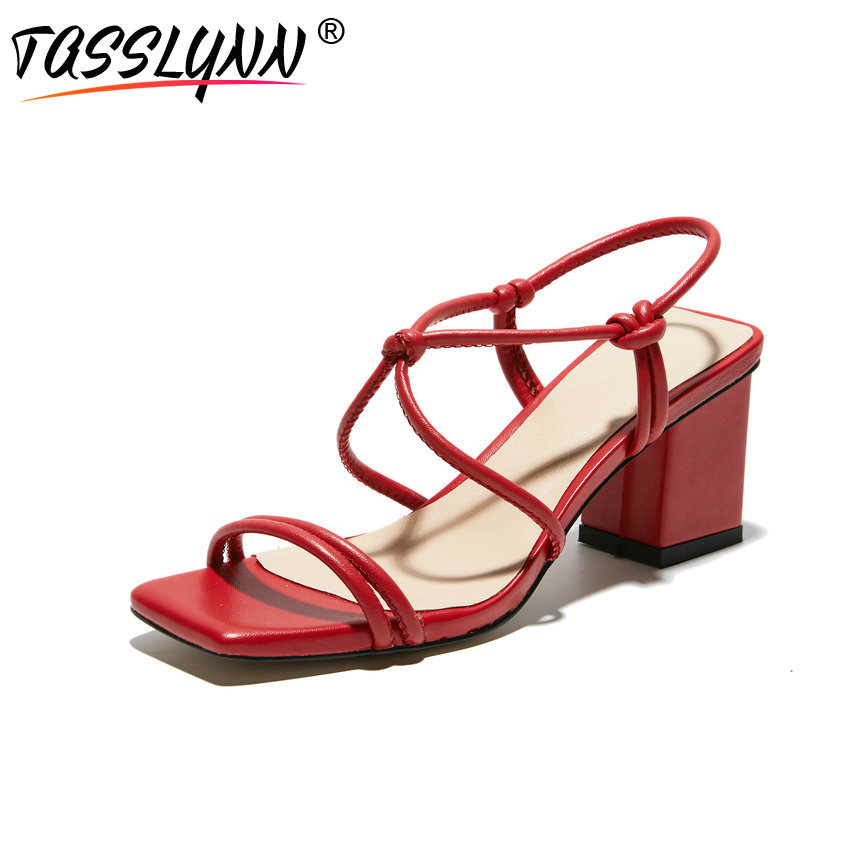 TASSLYNN 2019 Women Sandals Novelty Square Toe Sheep Leather PU Summer Shoes Gladiator Narrow Band Shoes