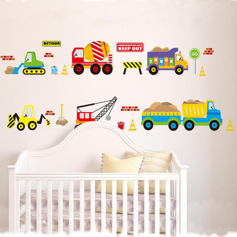 1pcs Cartoon Car Pvc Wall Stickers For Kids Rooms Pvc Wallpaper Wall Art Decoration Childrens Wall Vinyl Home Decor