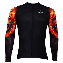 2016 New Flame león africano hombre de manga larga Ciclismo Jersey cremallera completa Bike Shirt poliéster transpirable Ropa Ciclismo Ropa Ciclismo tamaño S-6XL