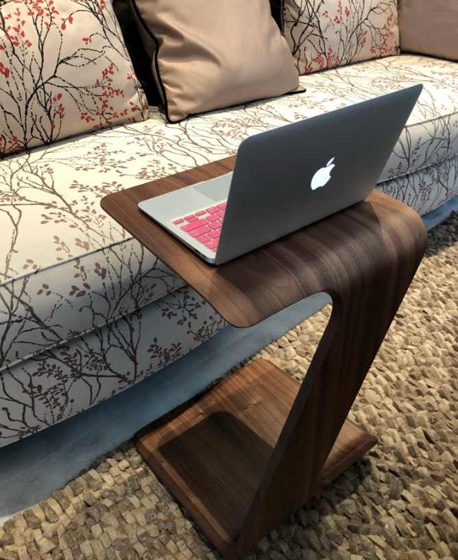 """62cm (24"""") High Small Coffee Table / Slim Design with Wooden Grain Finish"""