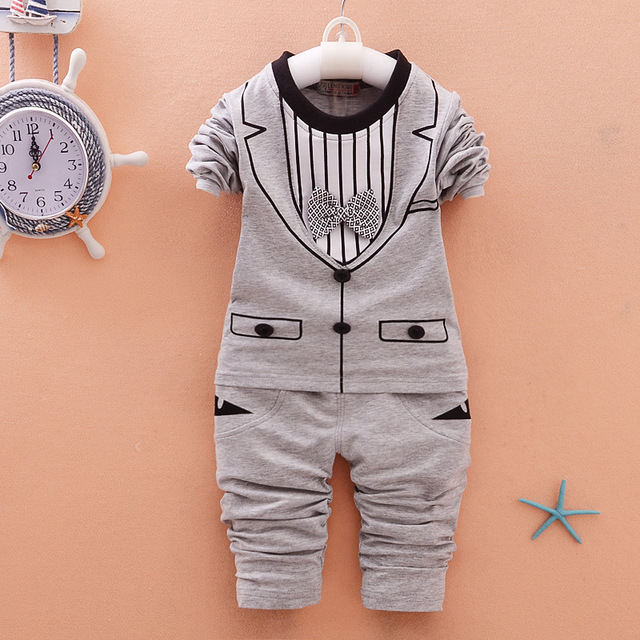 2016 New Style Baby Clothes Sets Stripe Tie Sweater + Pants 2pcs Sets for Infantal Boy Outfit Kids Clothing Spring Fall