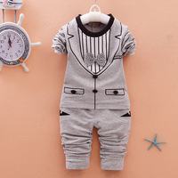 2016 New Style Baby Clothes Sets Stripe Tie Sweater Pants 2pcs Sets For Infantal Boy Outfit