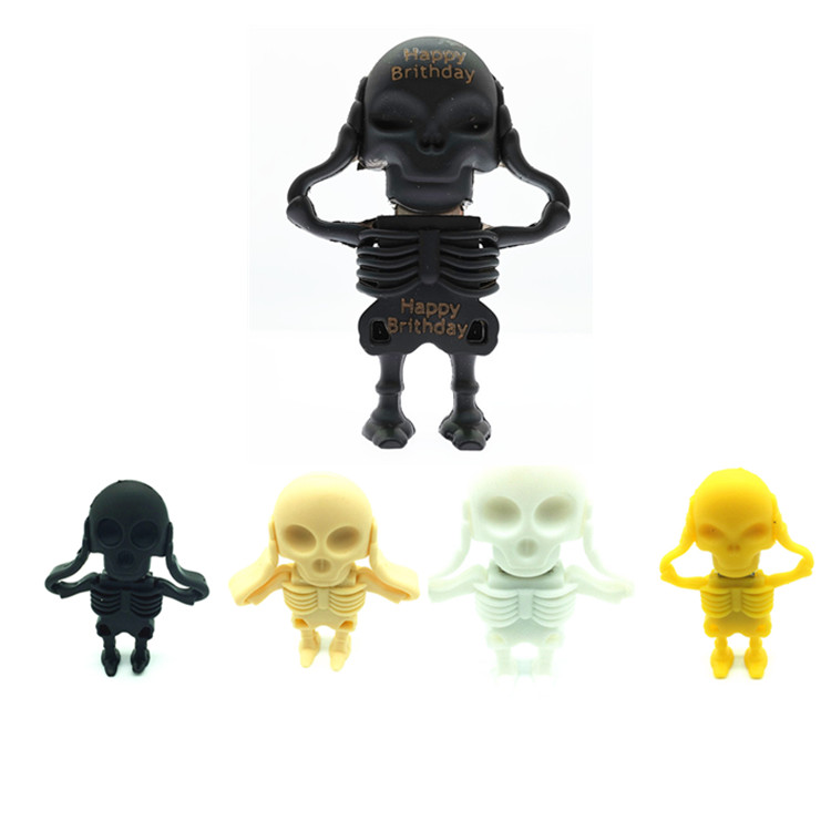 (over 10 Pcs) Free Logo Customized Cartoon Skull Usb Pen Drive, Skull Pendrive, Usb Flash Drive 64gb 32gb 16gb 8gb 4gb U Disk Matching In Colour