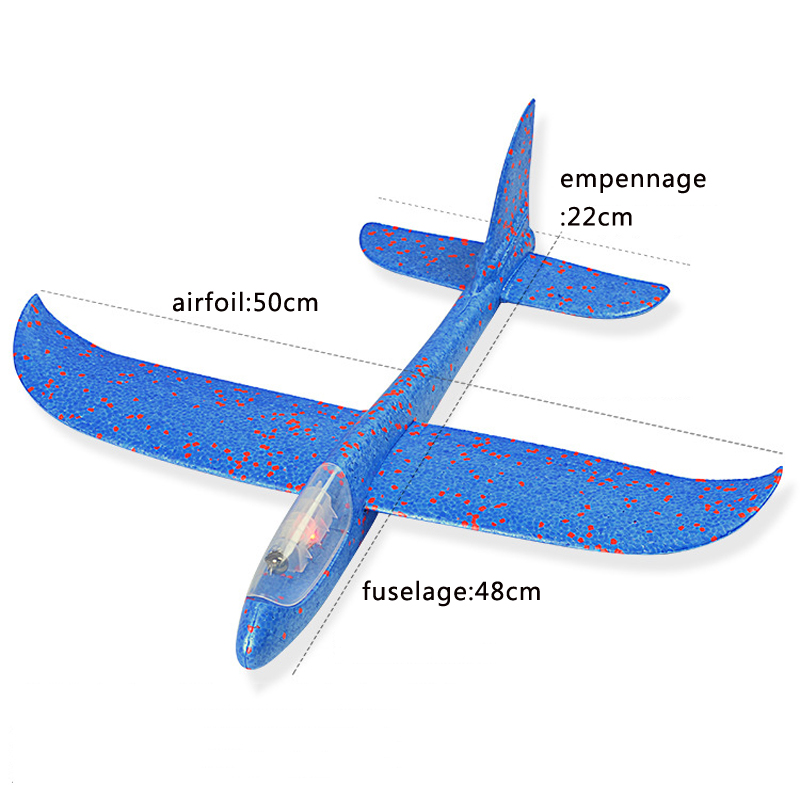 SAILEROAD FlyingFoam Throwing Glider Inertia Led Night Aircraft Toy Hand Launch Airplane Model Light Toys for Kid Games