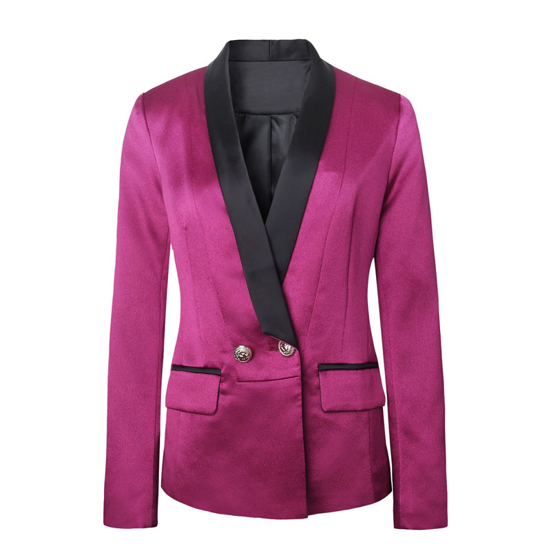 HIGH QUALITY New 2017 Runway Style Career Blazer Womens Notched Collar Lion Buttons Casual Blazer Outerwear Purple/Black