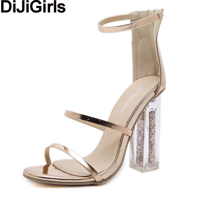 Dijigirls/Последние Для женщин открытым носком ремешками Ремешок на щиколотке золото Сандалии для девочек кристалл прозрачный блок на толстом высоком каблуке с блестками Обувь