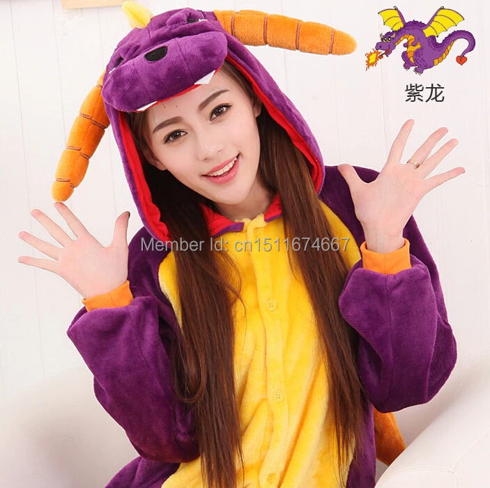 Thick Soft Flannel Anime Costume Shiryu Purple Dragon Onesies Pajama Halloween Carnival Party Clothing