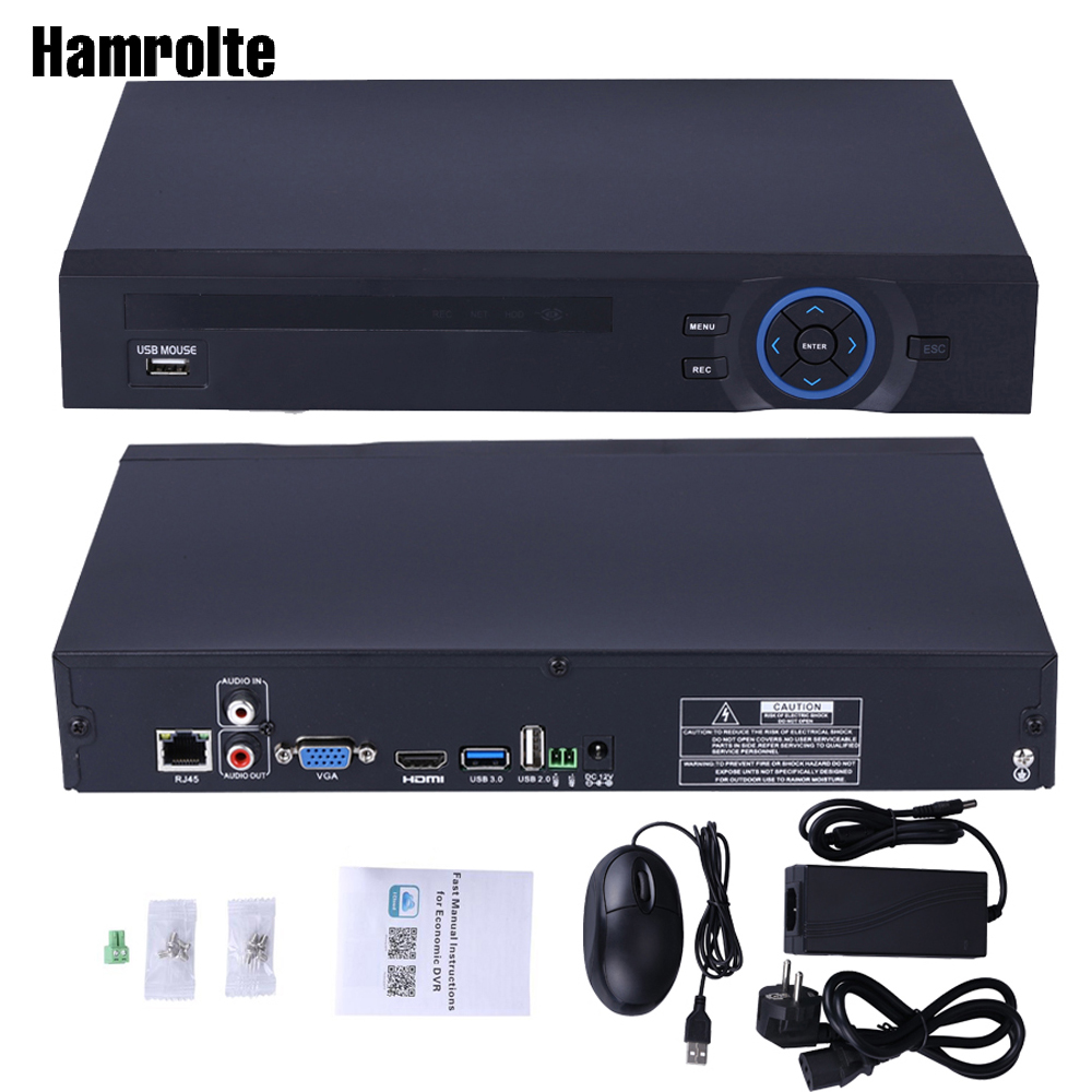 Hamrolte ONVIF NVR 32CH 1080P/25CH 5M/8CH4K For IP Camera H.265/H.264 2 SATA XMEYE P2P Cloud Network Video Recorder Email Alert