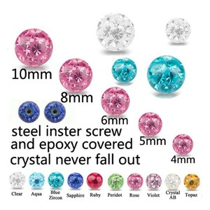 Image 2 - Crystal Ferido Epoxy Balls Piercing Body Jewelry Replacement For Belly Button Navel Lip Ring Tongue Barbells Insert Steel Screw