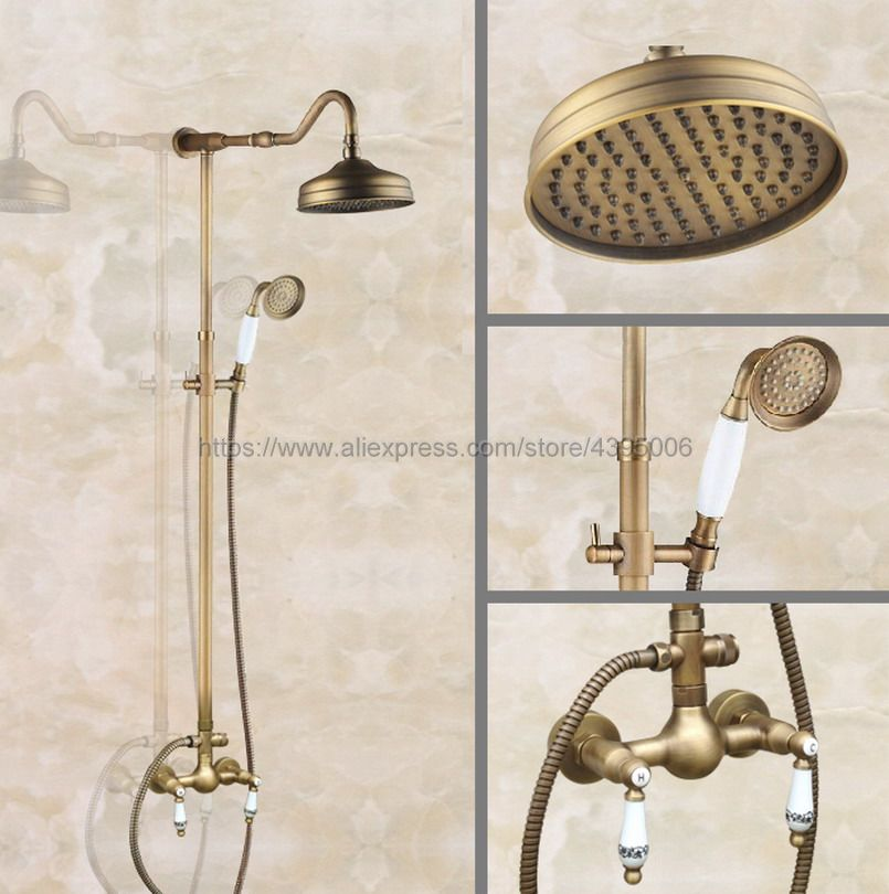 цена на Antique Brass Dual Handle Shower Faucet Wall Mounted Mixer Tap Rainfall Shower Set Mixer Tap with Hand Shower Ban507