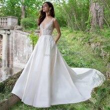 A Linha Lace Apliques de Cetim Vestidos de Noiva com Bolsos 2019 Double V Neck Tribunal Trem Do Casamento Vestidos de Noiva Frete Grátis