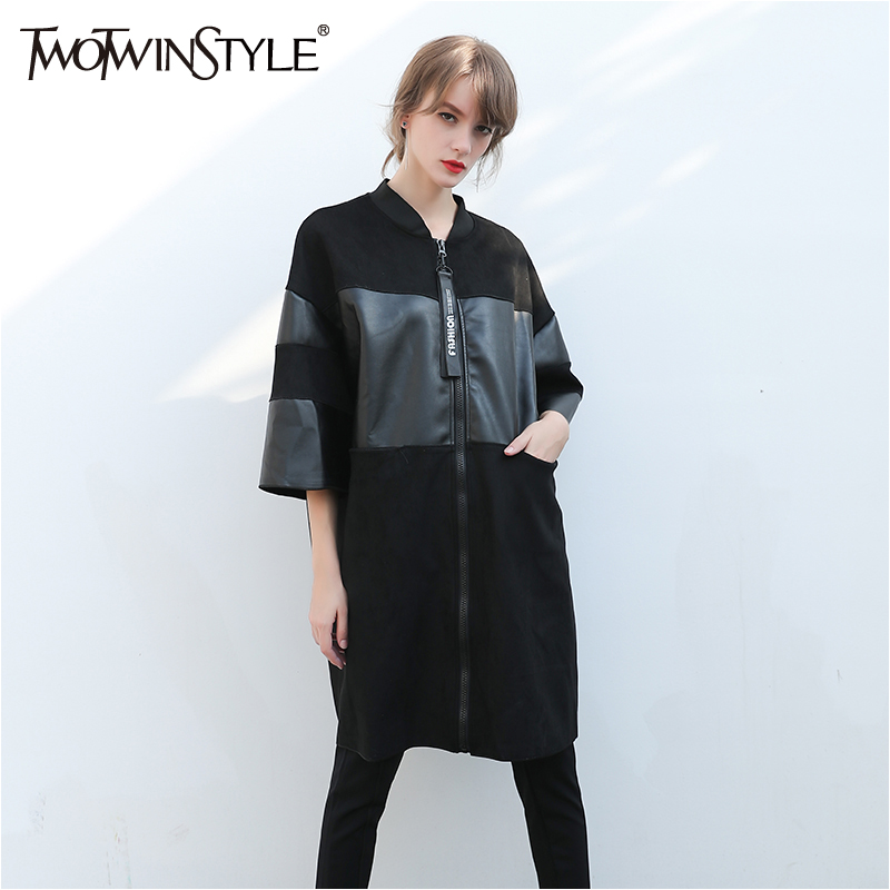 TWOTWINSTYLE Black PU Leather   Trench   Coat Female Long Sleeve Women's Windbreaker Overcoat Big Sizes Casual Clothes 2019 Winter