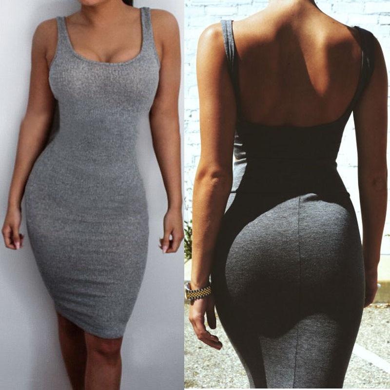 Hot Sale women Package Hip Dress Bandage Bodycon Mini Dress High Waist Slim Solid Gray Casual Innrech Market.com