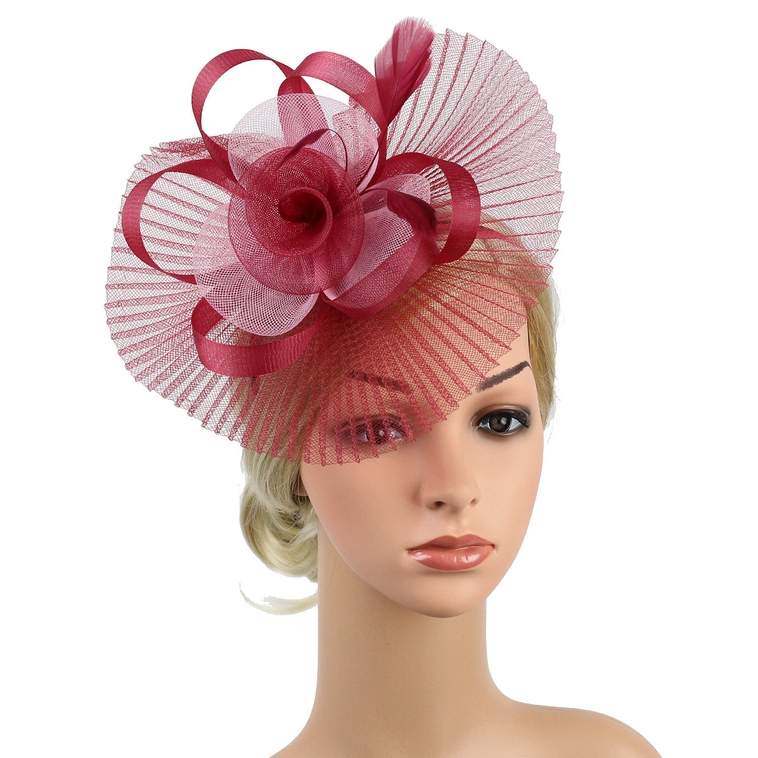 Races Ladies Day Pink flower feather fascinator headband for Ascot Weddings