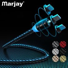 Marjay 1M 2M LED Magnetic USB Cable for iPhone Xs Max 8 7 6 & Type C Micro Samsung S10 Xiaomi LG