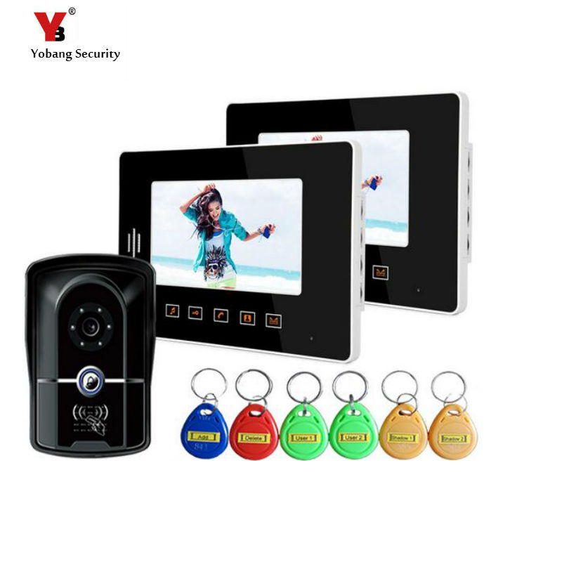Yobang Security 7 Video Intercom Door Phone Video Door bell with Handset Touch Pad LCD Monitor Night Vision HD Door Camera jeatone 7 touch screen tft lcd monitor video door phone intercom system with night vision hd outdoor camera for home security