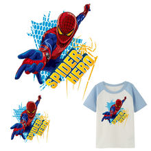 retro superhero spiderman iron on transfer for clothing diy kids men patches on clothes logo gift American movie costume sticker(China)
