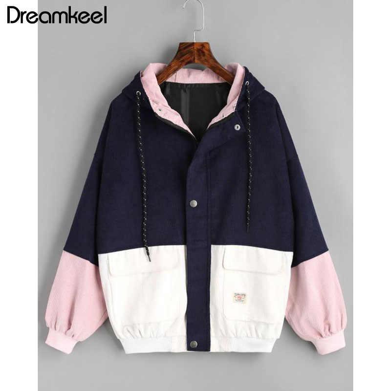 2019 NewHit カラーパッチ適用ポケット冬暖色ブロックフード付きコーデュロイジャケット巾着厚手の基本的な女性のコート原宿 Y