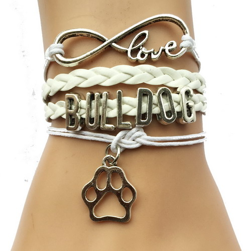 Drop Shipping Eernity Love Bulldog <font><b>Dog</b></font> Breeds Paw <font><b>Bracelet</b></font>- Best Friend Gift for Pet Tiger Paw Print Charm Lover 3 Colors image