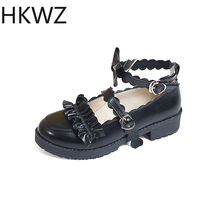 Brand new thick bottom low heel shoes shallow mouth fashion high heels love buckle strap Cosplay maid shoes cute princess shoes cute girl buckle strap deer printing leather shoes irregular little deer heel shoes double cherries high heel shoes deer heel