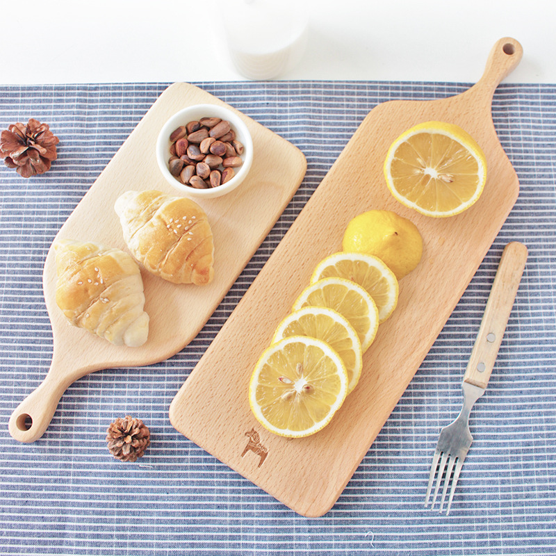BeechKOMOREBI Wood Food Plate Cookie Tool Kitchen Wooden Pizza Sushi Serving Bread Whole Wood Tray Cutting Board
