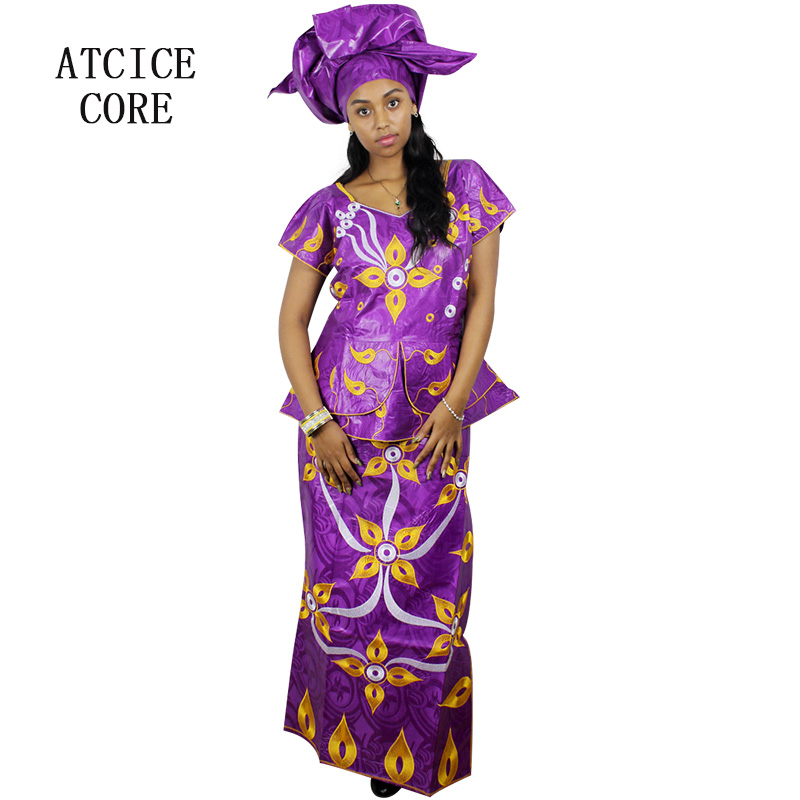 African Bazin Riche Embroidery Design Dresses Short Rapper With Scarf Three Pcs One Set Dp46# In Short Supply