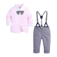Baby Boys Clothes Set Children Clothing Toddler Boy Casual Suit Tie Long Sleeves Shirt + Bib pants 2pcs outfits Kids Tracksuit