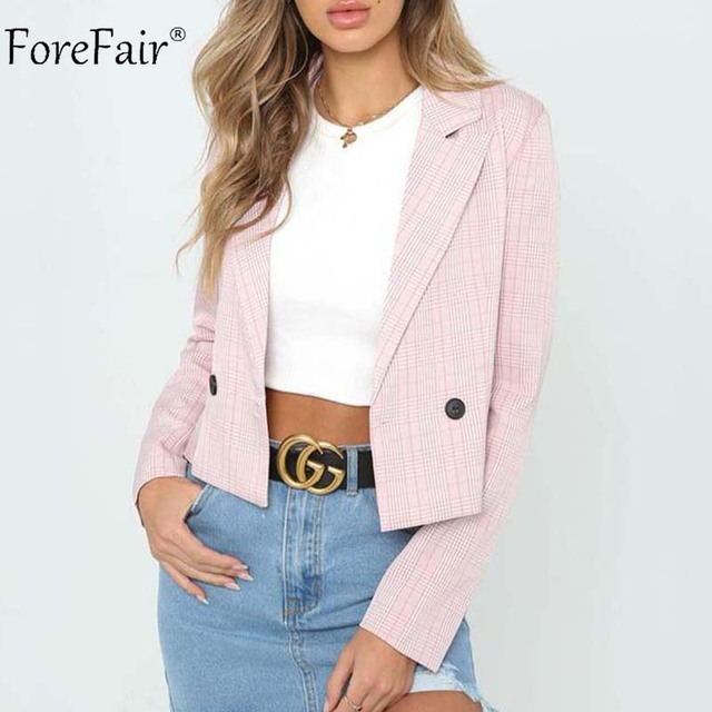 Forefair Fashion Office Blazers Women Plaid Suit Jacket Autumn Coat Female Long Sleeve Tops Winter Ladies Coats