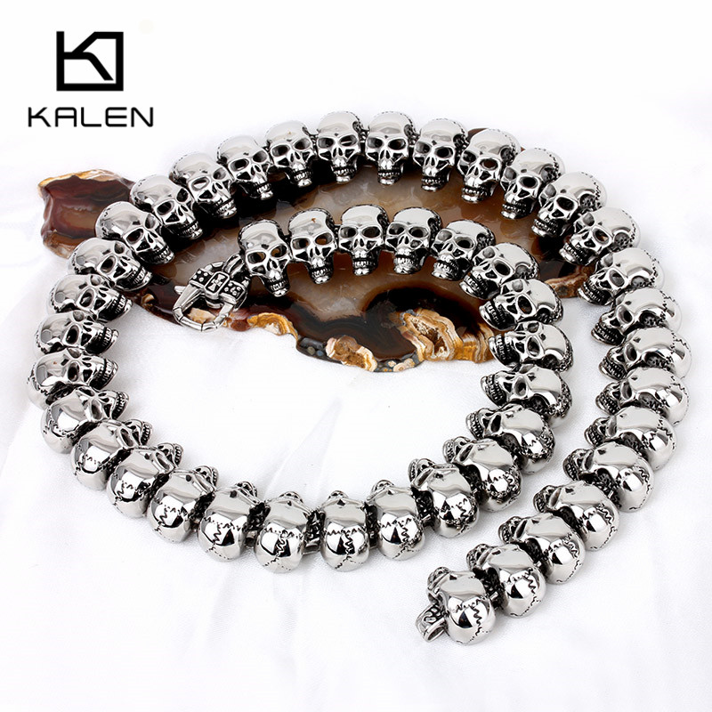 Kalen Punk Men's Statement Skull Collar Necklace Stainless Steel Skull Charm 65cm Long Necklace Rock Biker Pub Accessories Jewel