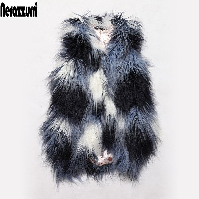 Nerazzurri Winter Faux Fur Vest Women Gradual Colorful Short Gilet Long Haired Shaggy Fake Fur Waistcoat Sleeveless Jacket 6xl