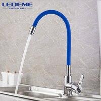 LEDEME Chrome Finish Kitchen Sink Faucet Single Handle Polished Taps Brass Mounted Mixer Water Taps Basin