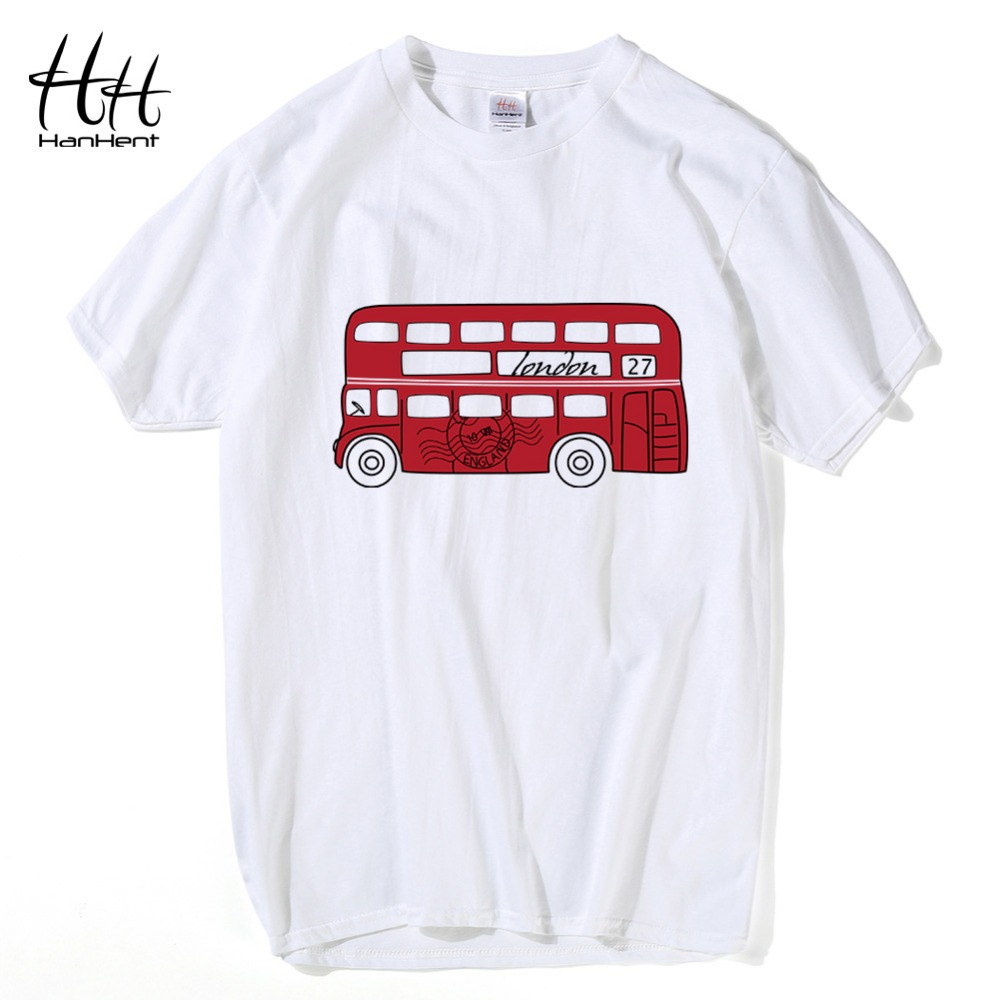 Hanhent new design red red bus t shirt men english for T shirt design 2017