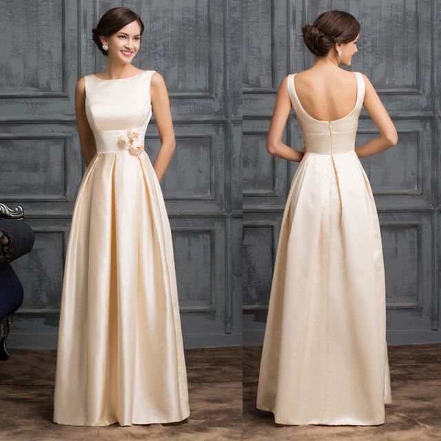Pretty Cheap 2016 new Latest Elegant Sleeveless Low-Back Apricot Cheap Long  Satin Evening Dress 590c131ba1da