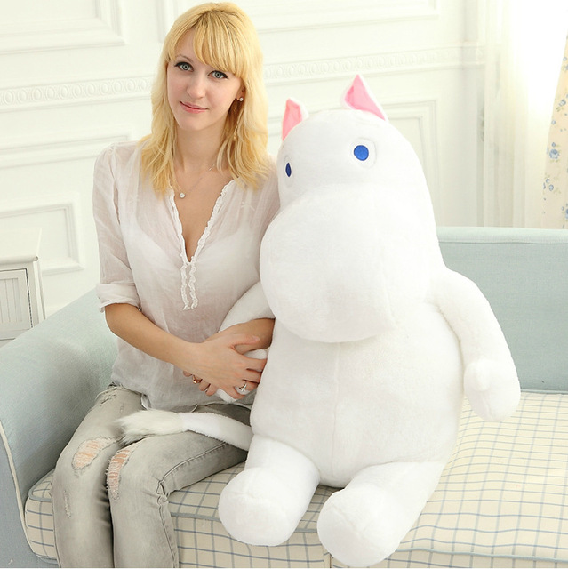 1pcs 80cm Large Size White Hippo Stuffed Plush Toys Cartoon Doll