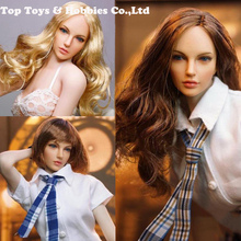 Hot 1/6 SUPER DUCK SDH005-A / SDH005-B SDH005-C girl head  1/6th American European Head Model For PH pale color body