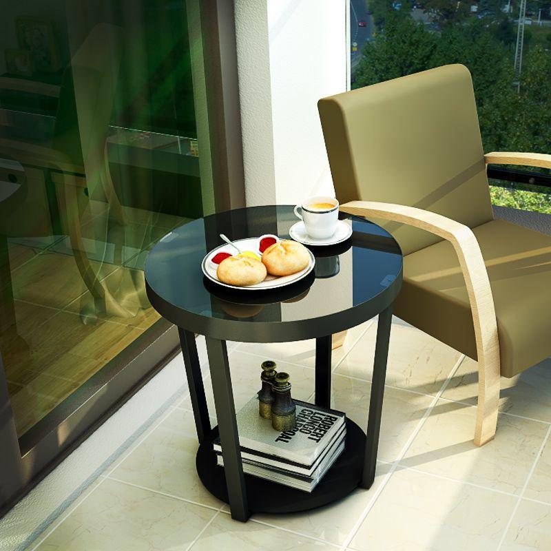 Modern Minimalist Sofa Edge Mini Tea Table, Living Room Iron Glass Small Round Table simple modern toughened glass small round bar table living room home leisure fashion high round table