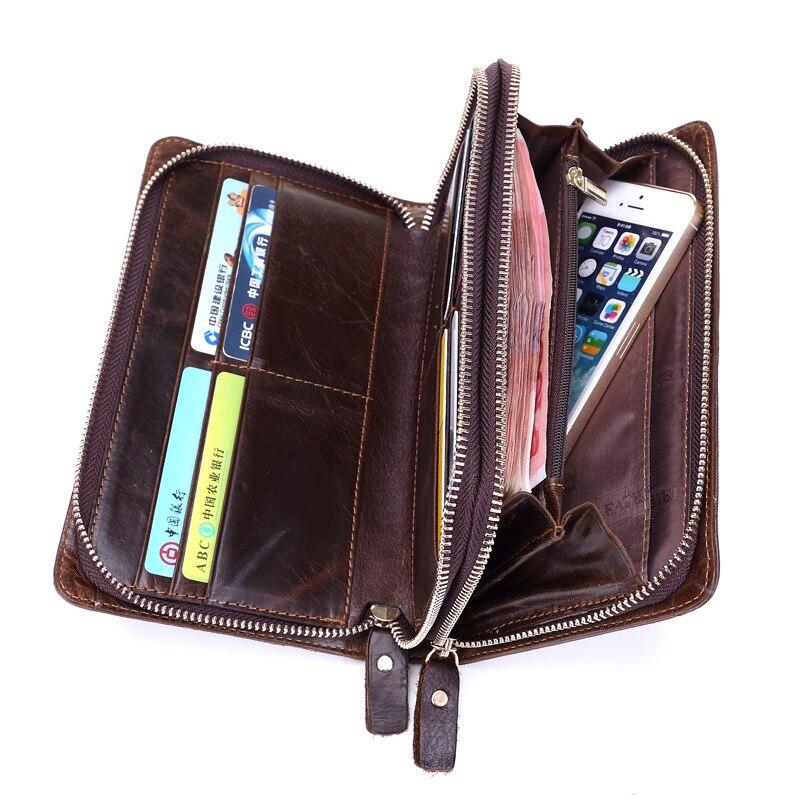 Marka portfel mężczyźni prawdziwej skóry portmonetka mężczyźni portfel na karty kredytowe portfel portfel z saszetką na karty mężczyzna zamek w stylu Vintage portfele w Portfele od Bagaże i torby na  Grupa 3