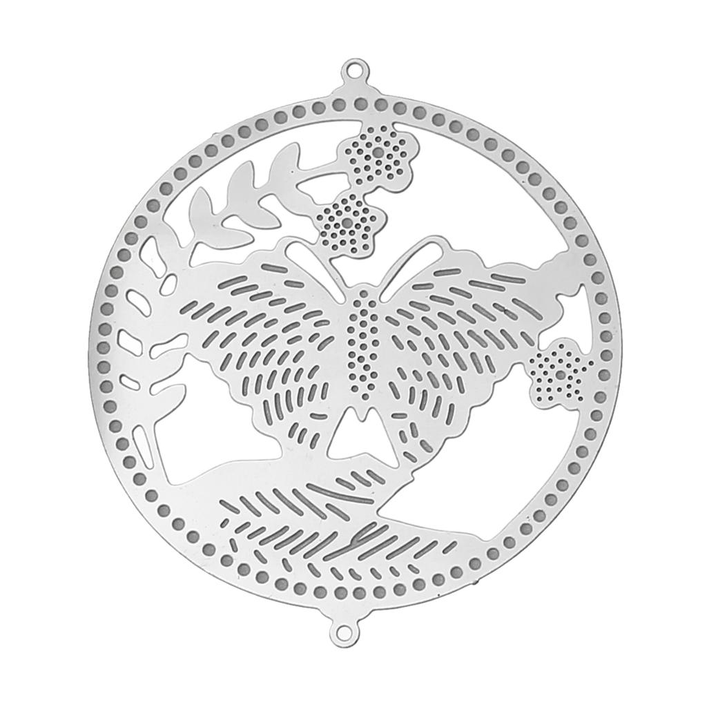 DoreenBeads Stainless Steel Connectors Findings Round Silver Tone Butterfly Pattern Hollow 40mm(1 5/8)x 35mm(1 3/8),10 PCs