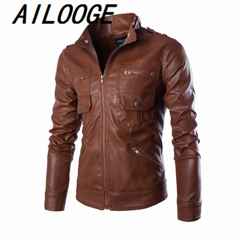 2016 New Fashion Brand Mens PU Jackets Stand Collar Mens Leather Jackets Casual Outerwear for Men Plus Size 2XL