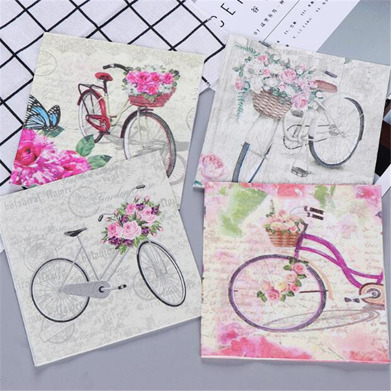20Pcs New Printed Bicycle Paper Towels Wedding Decoupage Paper Napkins For Baby Shower Birthday Decoration Kids Party Supplies