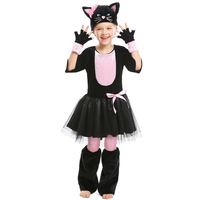 Umorden Child Kids Girls Miss Kitty Costume for Teen Girl Pink Black Cat Dress Suit Halloween Carnival Party Mardi Gras Cosplay