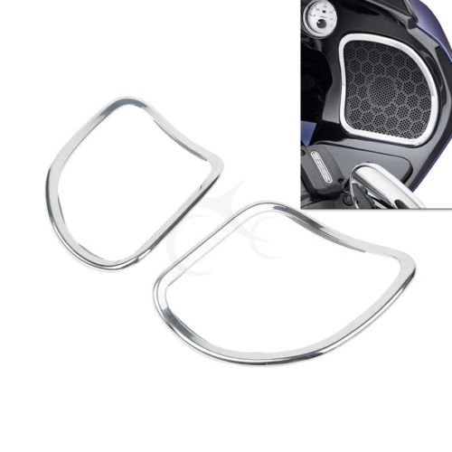 Front Speaker Trim For Harley Touring Road Glide Custom FLTRX FLTR CVO Ultra FLTRUSE 2015-2016 15 Chrome performance machine scallop contrast cut for harley fltr windshield trim 98 13