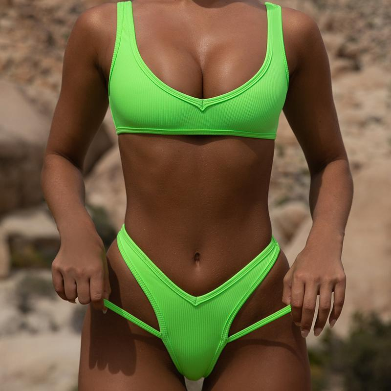 Ribbed Neon Thong Bikini 2019 Female High Leg Cut Swimsuit Women Brazilian Swimwear Two Pieces Bikini Set Push Up Bathing Suit