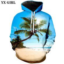 3de0411e510da YX chica marca 2018 otoño nueva moda hoodies SOL playa árbol de coco impresión  3d hombres mujeres con capucha sudadera