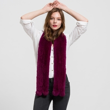 2016 Long Genuine Fur Scarves Real Rex Rabbit Fur Knitted Scarf Women Men Winter Fashion Neck Warmer S1701
