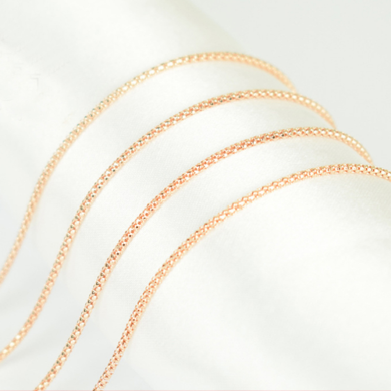 Pure 925 Sterling Silver Rose Gold Color 1.6mm Wide Round Popcorn Chain Necklace Italy Jewelry for Women Men Kids Girls Boys